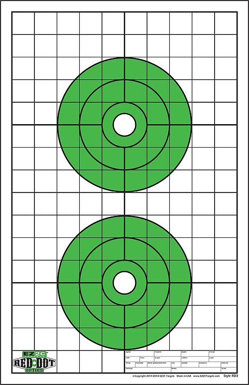 Red Dot Optics Style 3: Two Bullseyes with Grids
