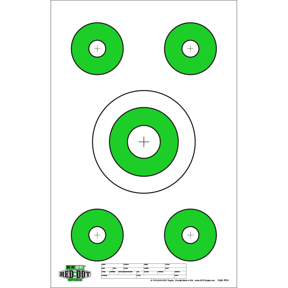 Red Dot Optics Style 8: Five Targets per Sheet
