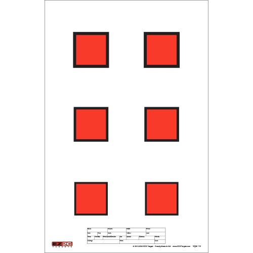 "Style 18: Six 2"" EZ2C Red Squares"