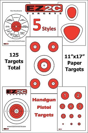125 EZ2C Targets Five Handgun Styles